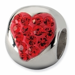 Sterling Silver Red Heart Crystal Bead