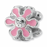 Sterling Silver Reflections Pink Enameled with CZ Flower Bead