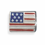 Sterling Silver Story American Flag Bead