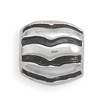 Sterling Silver Story Barrel Shape Lined Bead