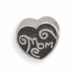 Sterling Silver Story Heart Shape Mom Bead