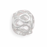 Sterling Silver Story Open Wave Design Bead