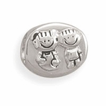 Sterling Silver Story Oval Boy and Girl Bead