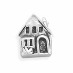 Sterling Silver Story Oxidized House Bead