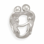 Sterling Silver Story Parents and 2 Children Bead