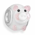 Sterling Silver Story Pig Glass Bead