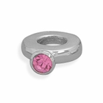 Sterling Silver Story Pink Crystal Ring Bead
