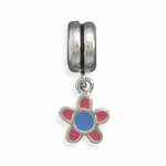 Sterling Silver Story Pink Flower Charm Bead