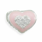 Sterling Silver Story Pink Heart Bead