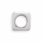 Sterling Silver Story Polished Square Bead