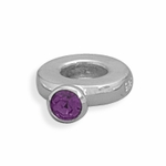 Sterling Silver Story Purple Crystal Ring Bead