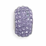 Sterling Silver Story Purple Pave Crystal Bead