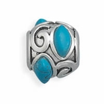 Sterling Silver Story Reconstituted Turquoise Bead