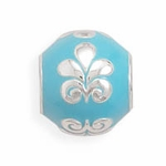 Sterling Silver Story Round Blue Design Bead