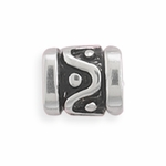 Sterling Silver Story Wave and Dot Design Bead