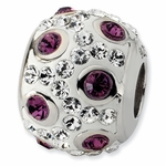 Sterling Silver White and Purple Crystal Bead