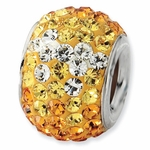 Sterling Silver Yellow Graudated Crystal Bead