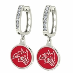 Stony Brook Seawolves Enamel Large CZ Hoop Earrings