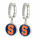 Syracuse Orange Enamel Large CZ Hoop Earrings