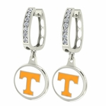 Tennessee Volunteers Enamel Large CZ Hoop Earrings