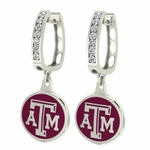Texas A & M Aggies Enamel Large CZ Hoop Earrings