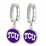 Texas Christian Horned Frogs Enamel Large CZ Hoop Earrings