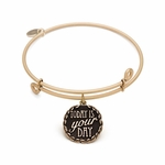 Today is your Day Antique Gold Finish Bangle Bracelet