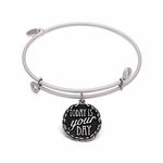Today is your Day Antique Silver Finish Bangle Bracelet