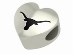 University of Texas at Austin Longhorns Silver Laser Heart Bead