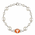 University of Texas at Austin Longhorns Silver White Pearl Tin Cup  Bracelet