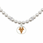 University of Texas at Austin Longhorns White Enamel White Pearl Necklace