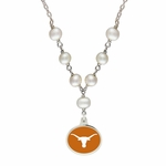 University of Texas at Austin Longhorns White Enamel White Pearl Tin Cup Necklace