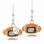 University of Texas Longhorns Colored CZ Football Earrings