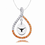 University of Texas Longhorns Colored CZ Teardrop Silver Necklace