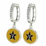 Vanderbuilt Commodores Enamel Large CZ Hoop Earrings