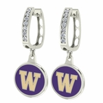 Washington Huskies Enamel Large CZ Hoop Earrings