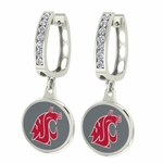 Washington State Cougars Enamel Large CZ Hoop Earrings