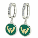 Wayne State Warriors Enamel Large CZ Hoop Earrings