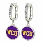 West Chester Golden Rams Enamel Large CZ Hoop Earrings