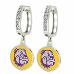 Western Illinois University Enamel Large CZ Hoop Earrings