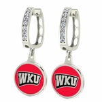 Western Kentucky Hilltoppers Enamel Large CZ Hoop Earrings