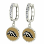 Western Michigan Enamel Large CZ Hoop Earrings