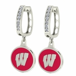Wisconsin Badgers Enamel Large CZ Hoop Earrings