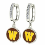 Wyoming Cowboys Enamel Large CZ Hoop Earrings