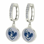 Xavier Musketeers Enamel Large CZ Hoop Earrings