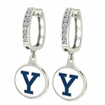 Yale Bulldogs Enamel Large CZ Hoop Earrings