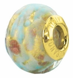 Zable Gold Plate Pale Blue/Gold Murano Glass Bead