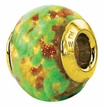 Zable Gold Plate Pale Green/Gold Murano Glass Bead