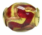 Zable Gold Plated Murano Glass Red & Copper Bead