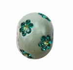 Zable Retired Green Enamel CZ Floral Bead